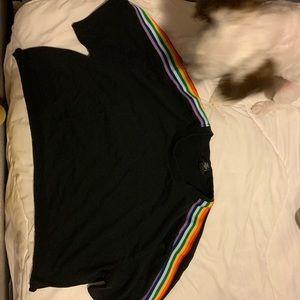 Cropped rainbow t shirt